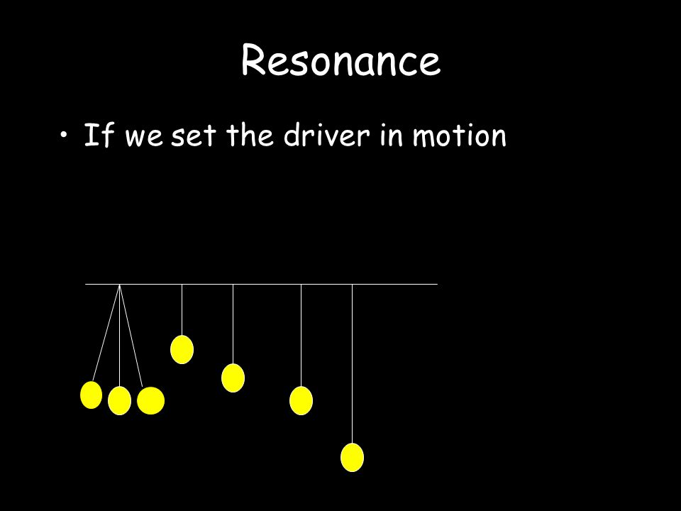 Resonance Transfer of energy between two objects with the same, or very similar, natural frequency.