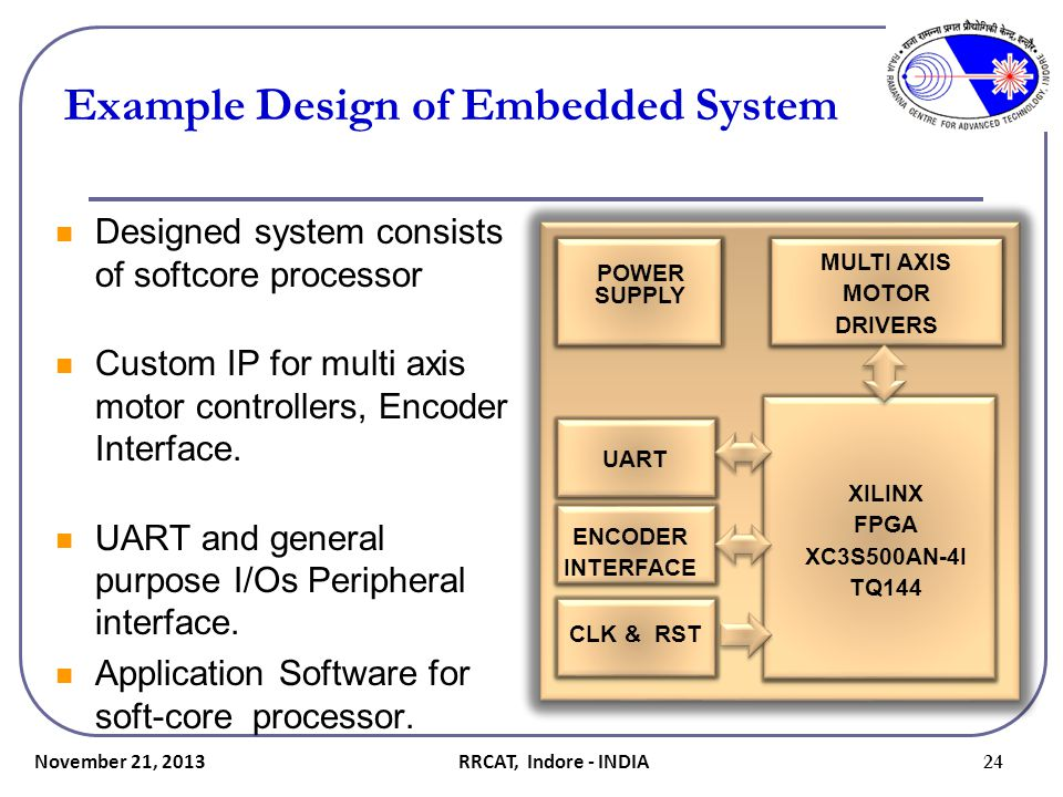 Example Design of Embedded System Designed system consists of softcore processor Custom IP for multi axis motor controllers, Encoder Interface. UART a