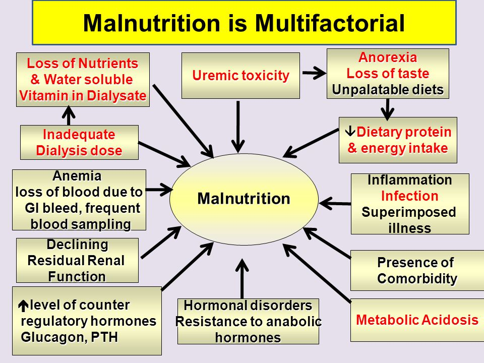 Loss of Nutrients & Water soluble Vitamin in Dialysate Malnutrition Uremic toxicity Anorexia Loss of taste Unpalatable diets  Dietary protein & energ