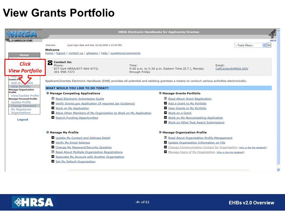 13 of 61 EHBs v2.0 Overview View Grants Portfolio Click View Portfolio