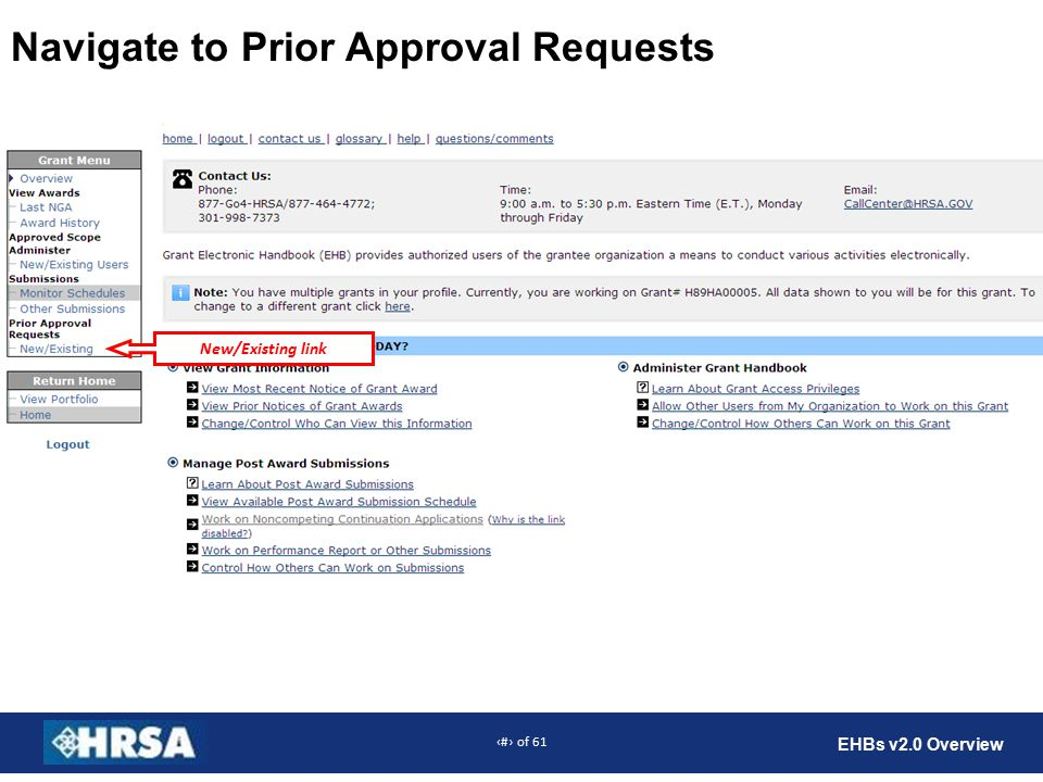 15 of 61 EHBs v2.0 Overview Navigate to Prior Approval Requests New/Existing link