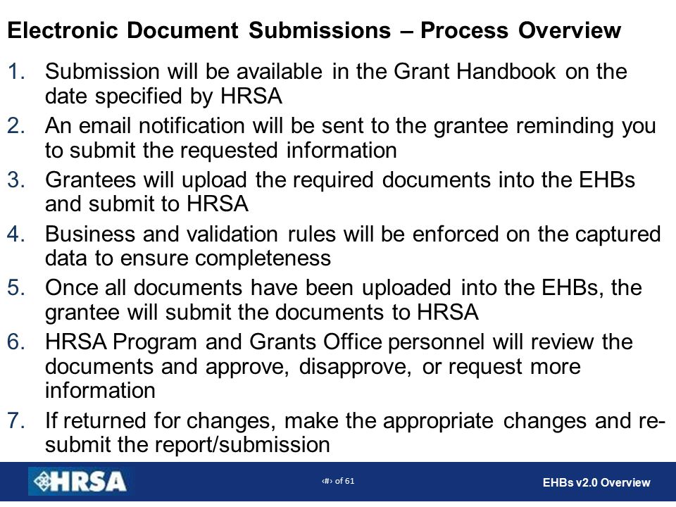 45 of 61 EHBs v2.0 Overview Electronic Document Submissions – Process Overview 1.Submission will be available in the Grant Handbook on the date specified by HRSA 2.An  notification will be sent to the grantee reminding you to submit the requested information 3.Grantees will upload the required documents into the EHBs and submit to HRSA 4.Business and validation rules will be enforced on the captured data to ensure completeness 5.Once all documents have been uploaded into the EHBs, the grantee will submit the documents to HRSA 6.HRSA Program and Grants Office personnel will review the documents and approve, disapprove, or request more information 7.If returned for changes, make the appropriate changes and re- submit the report/submission