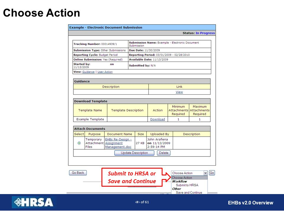 58 of 61 EHBs v2.0 Overview Choose Action Submit to HRSA or Save and Continue