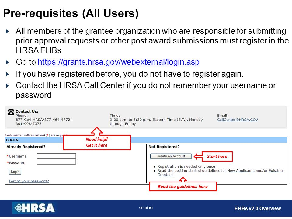 6 of 61 EHBs v2.0 Overview Pre-requisites (All Users)  All members of the grantee organization who are responsible for submitting prior approval requests or other post award submissions must register in the HRSA EHBs  Go to https://grants.hrsa.gov/webexternal/login.asphttps://grants.hrsa.gov/webexternal/login.asp  If you have registered before, you do not have to register again.