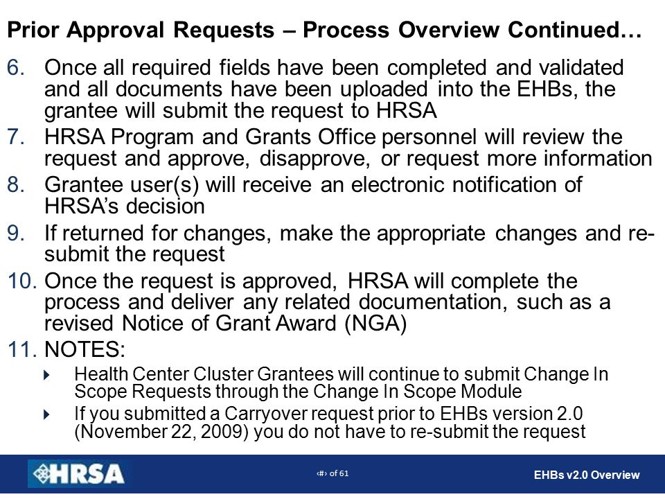 9 of 61 EHBs v2.0 Overview Prior Approval Requests – Process Overview Continued… 6.Once all required fields have been completed and validated and all