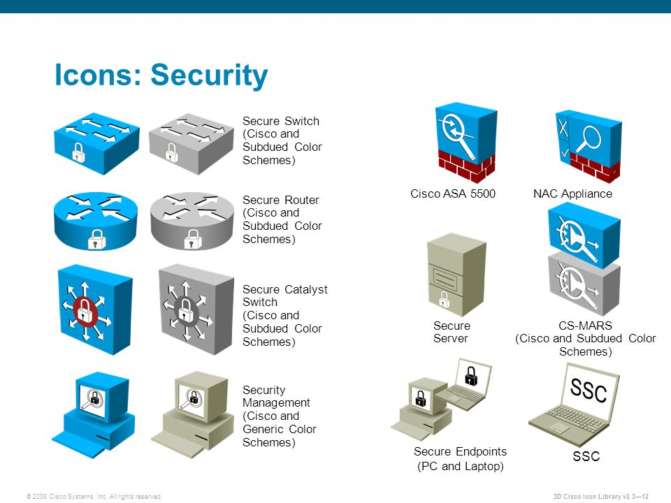 © 2008 Cisco Systems, Inc. All rights reserved.3D Cisco Icon Library v2.3—12 Icons: Security Secure Switch (Cisco and Subdued Color Schemes) Secure Ro