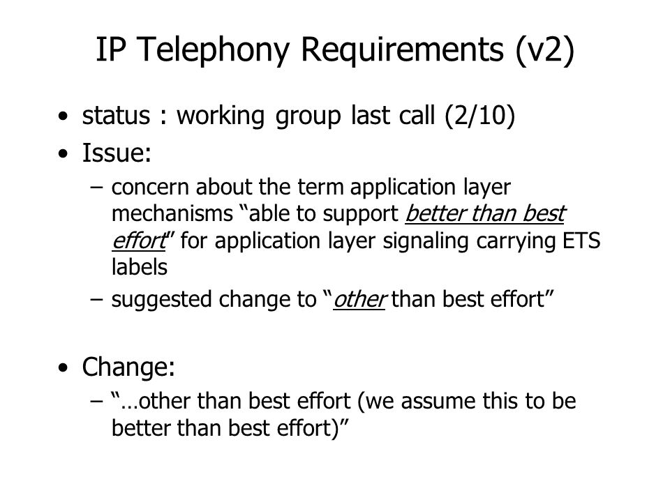 IP Telephony Requirements (v2) status : working group last call (2/10) Issue: –concern about the term application layer mechanisms able to support better than best effort for application layer signaling carrying ETS labels –suggested change to other than best effort Change: – …other than best effort (we assume this to be better than best effort)