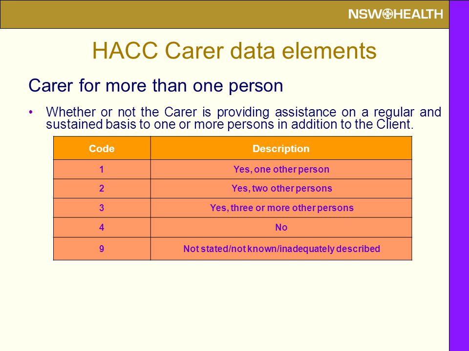 Carer for more than one person Whether or not the Carer is providing assistance on a regular and sustained basis to one or more persons in addition to the Client.