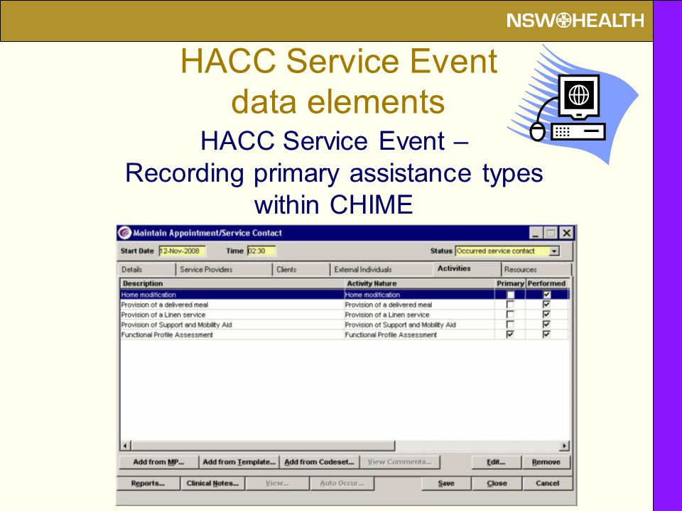 HACC Service Event – Recording primary assistance types within CHIME HACC Service Event data elements