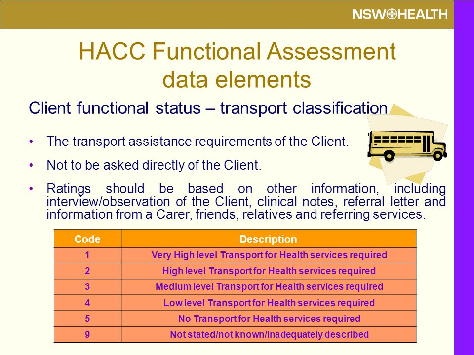 Client functional status – transport classification The transport assistance requirements of the Client.