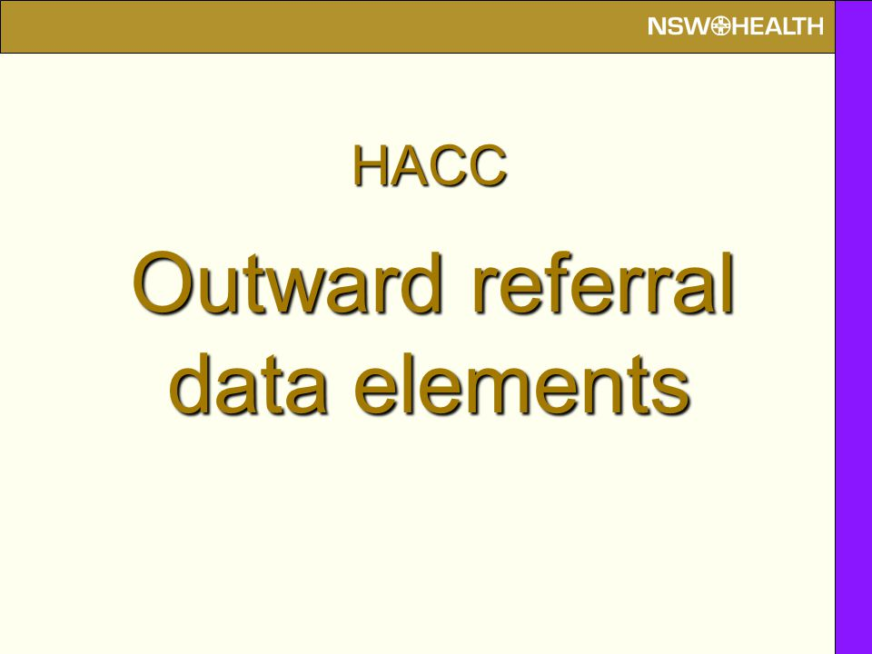 HACC Outward referral data elements