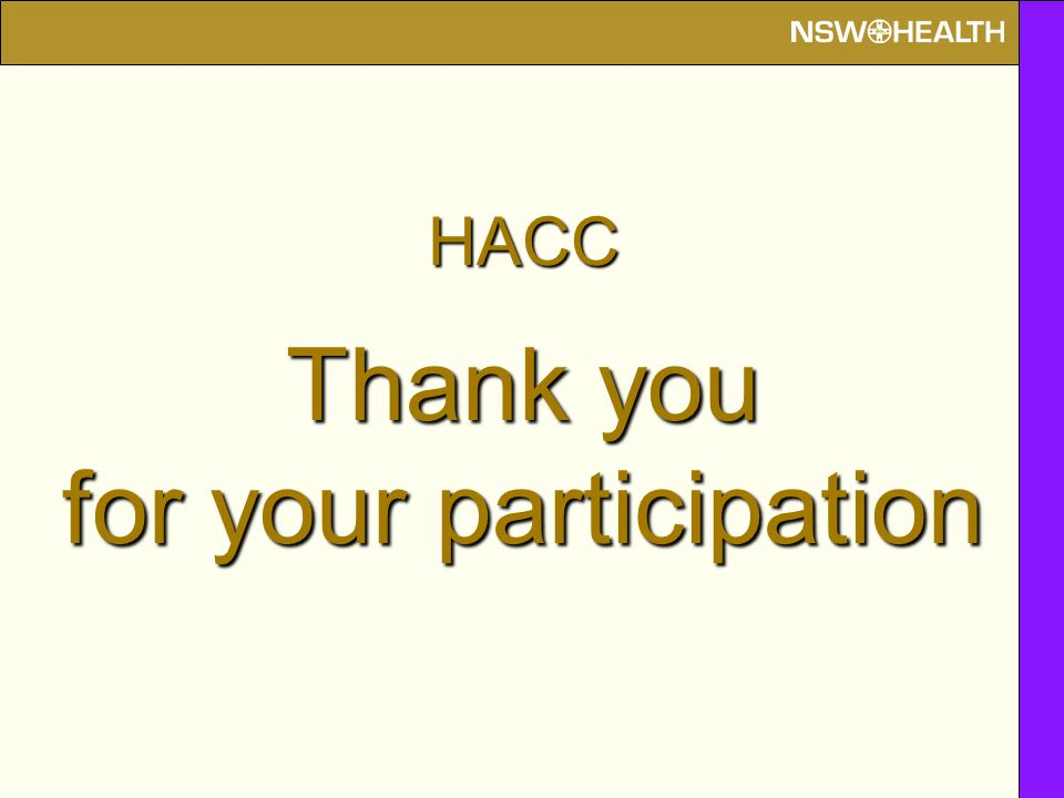 HACC Thank you for your participation