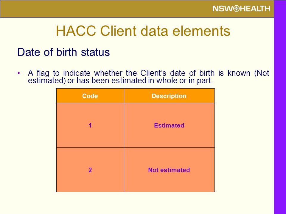 HACC Client data elements Date of birth status A flag to indicate whether the Client's date of birth is known (Not estimated) or has been estimated in