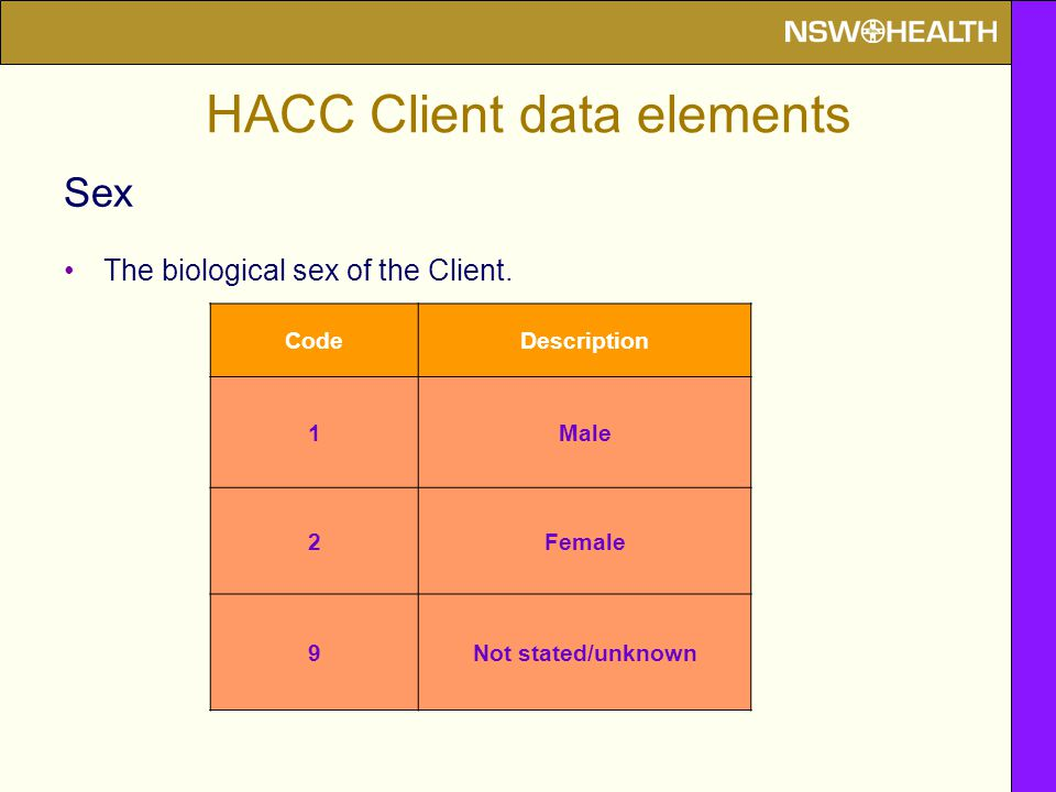 HACC Client data elements Sex The biological sex of the Client. CodeDescription 1Male 2Female 9Not stated/unknown