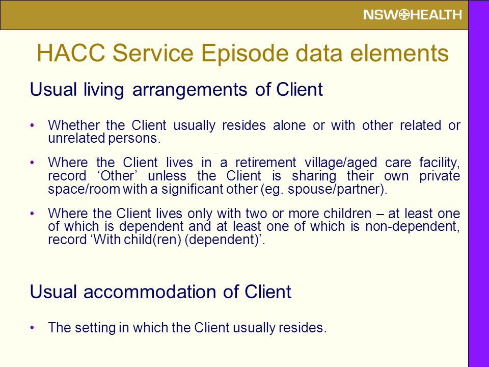 Usual living arrangements of Client Whether the Client usually resides alone or with other related or unrelated persons.