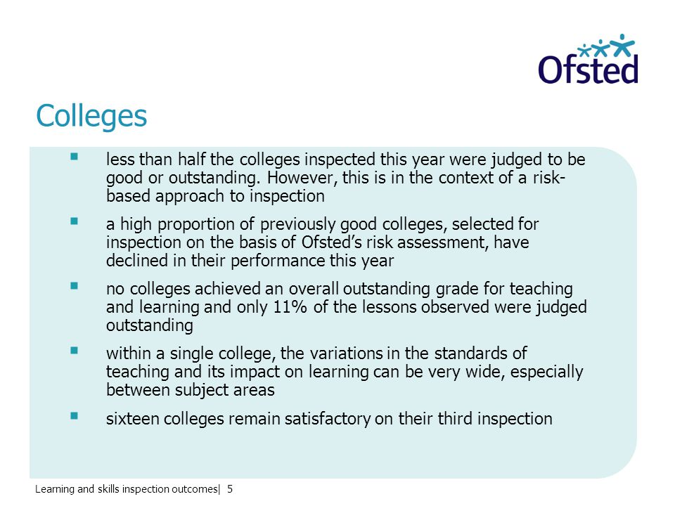 Learning and skills inspection outcomes| 5 Colleges  less than half the colleges inspected this year were judged to be good or outstanding.