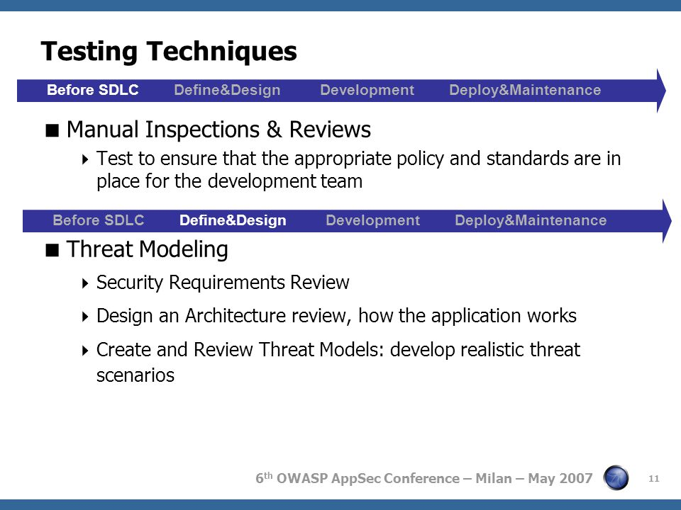 6 th OWASP AppSec Conference – Milan – May 2007 11 Testing Techniques  Manual Inspections & Reviews  Test to ensure that the appropriate policy and standards are in place for the development team  Threat Modeling  Security Requirements Review  Design an Architecture review, how the application works  Create and Review Threat Models: develop realistic threat scenarios Before SDLC Define&Design Development Deploy&Maintenance