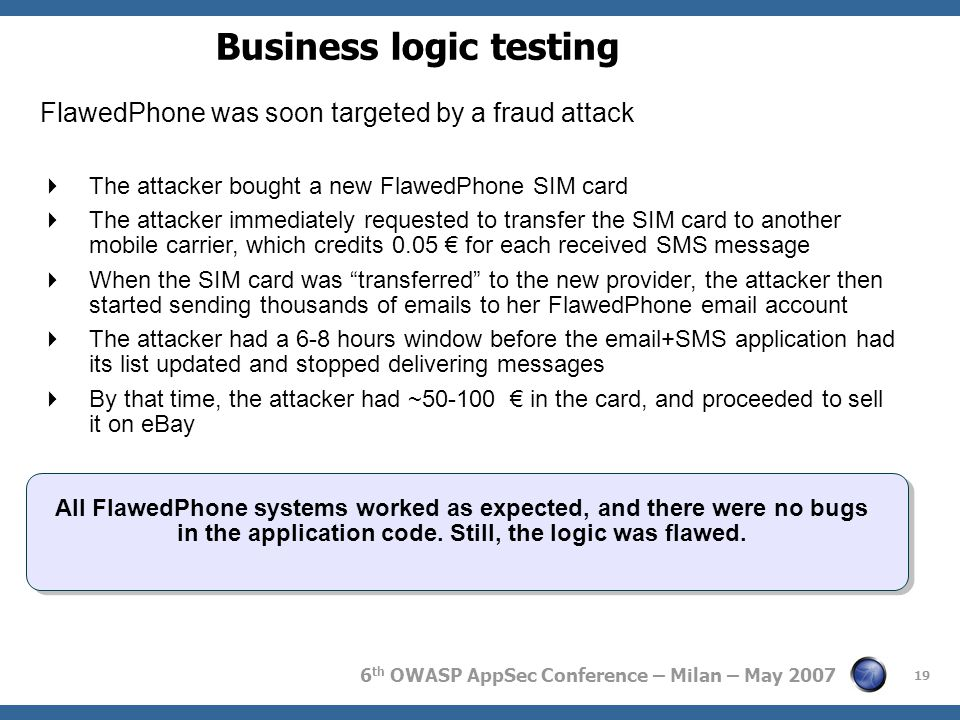 6 th OWASP AppSec Conference – Milan – May 2007 19 Business logic testing FlawedPhone was soon targeted by a fraud attack  The attacker bought a new