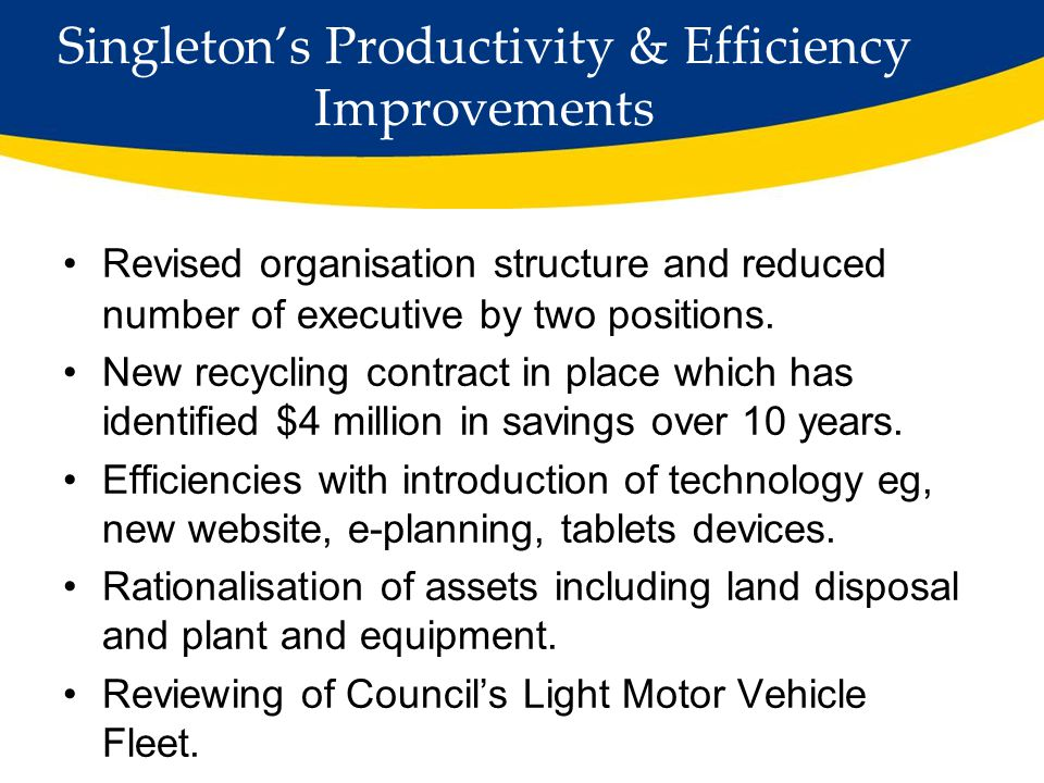 Singleton's Initiatives to Improve Financial Sustainability Asset Management Planning Traditionally, the focus on infrastructure asset management was provision of new assets However it is becoming more and more apparent that it is no longer sustainable to focus on the investment in the creation of new assets alone Must also recognise long term lifecycle costs of ongoing operation, maintenance and renewal of existing assets