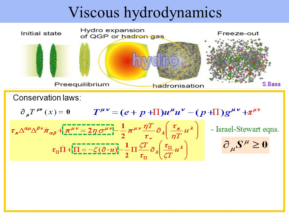 Viscous hydrodynamics S.Bass Conservation laws: - Israel-Stewart eqns.