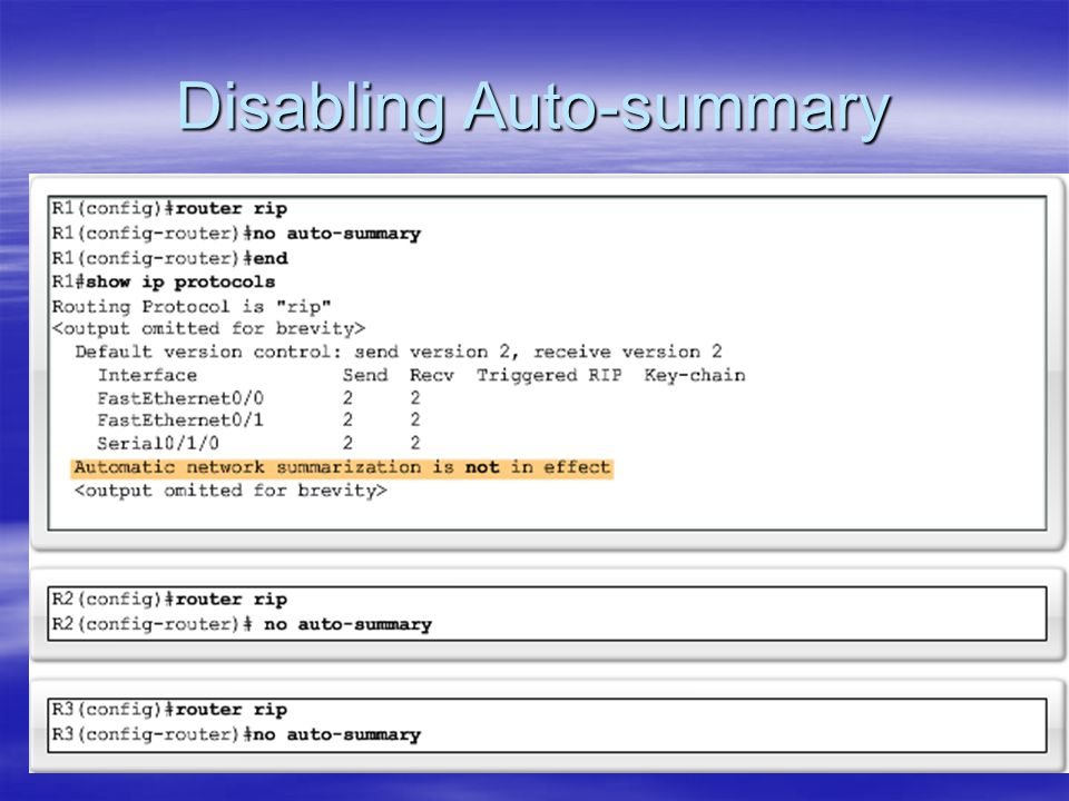 Disabling Auto-summary
