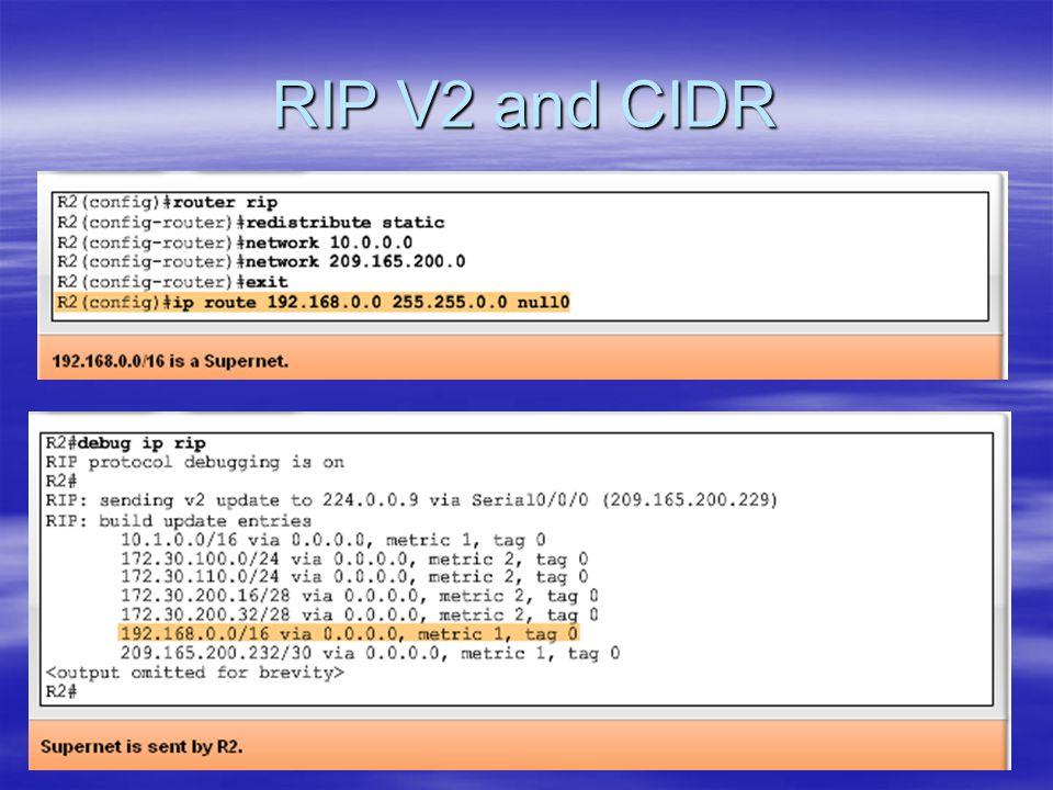 RIP V2 and CIDR
