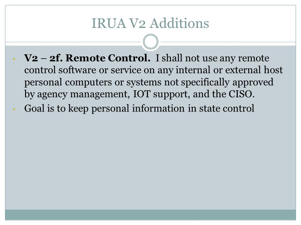 IRUA V2 Additions V2 – 2f. Remote Control.