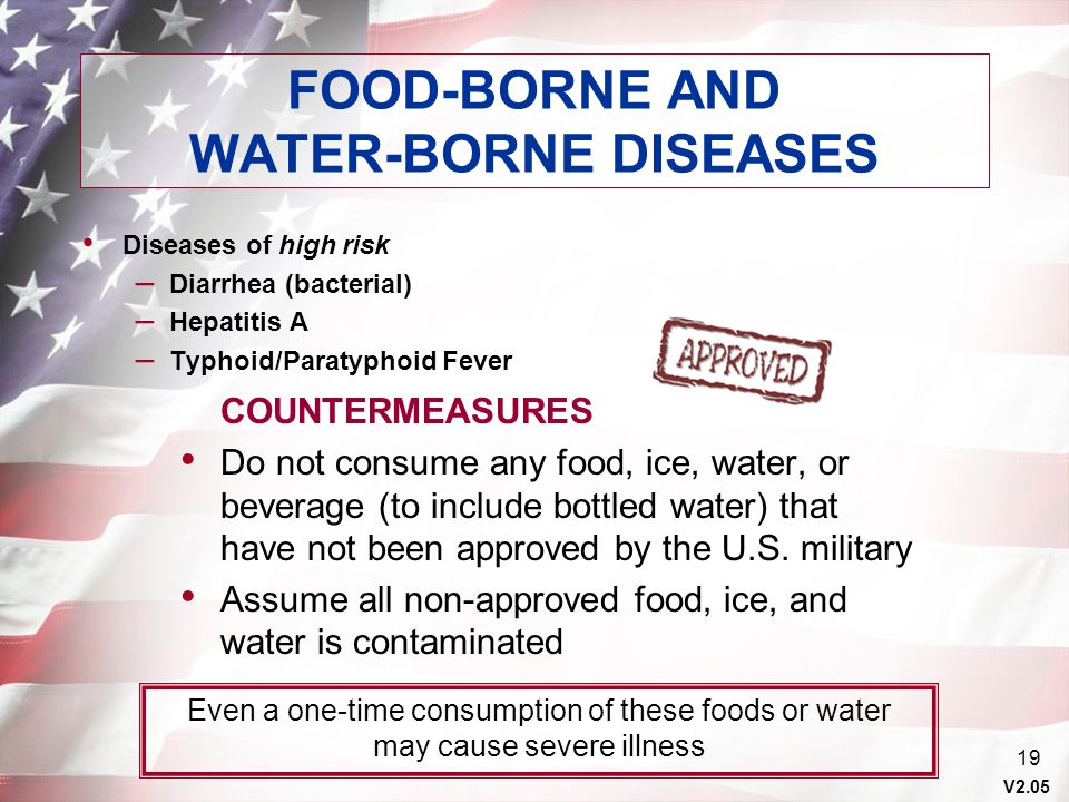 V2.05 19 FOOD-BORNE AND WATER-BORNE DISEASES Diseases of high risk – Diarrhea (bacterial) – Hepatitis A – Typhoid/Paratyphoid Fever COUNTERMEASURES Do