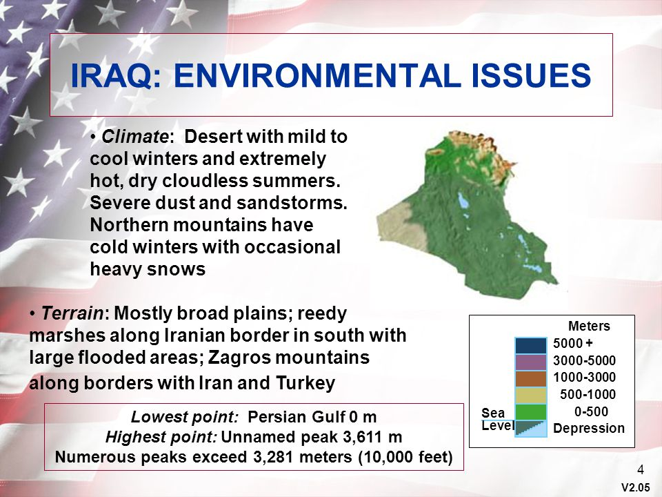V2.05 4 IRAQ: ENVIRONMENTAL ISSUES Sea Level Meters 5000 + 3000-5000 1000-3000 500-1000 0-500 Depression Climate: Desert with mild to cool winters and