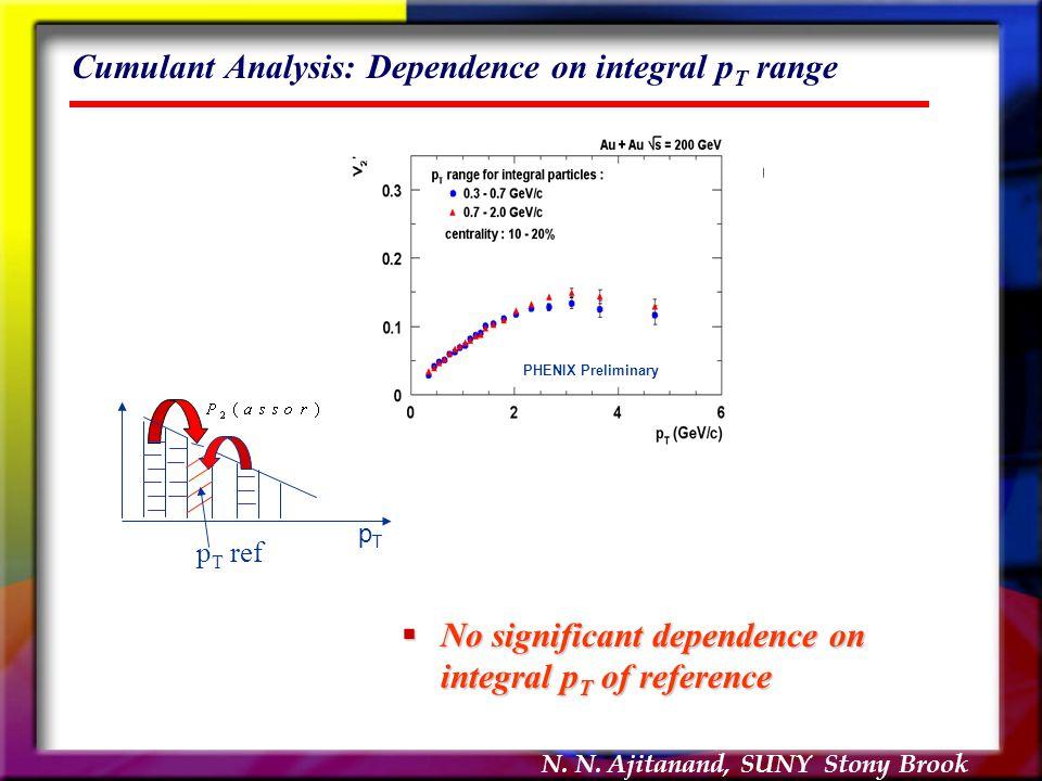 N. N. Ajitanand, SUNY Stony Brook Cumulant Analysis: Dependence on integral p T range  No significant dependence on integral p T of reference PHENIX