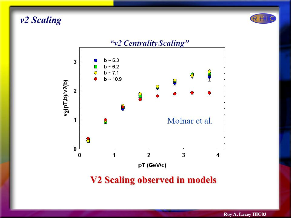 Roy A. Lacey HIC03 V2 Scaling observed in models v2 Scaling Molnar et al. v2 Centrality Scaling
