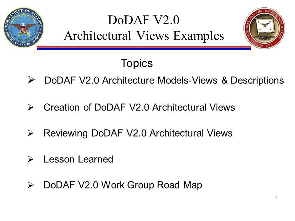 DoDAF V2.0 Architectural Views Examples  DoDAF V2.0 Architecture Models-Views & Descriptions  Creation of DoDAF V2.0 Architectural Views  Reviewing DoDAF V2.0 Architectural Views  Lesson Learned  DoDAF V2.0 Work Group Road Map 4 Topics