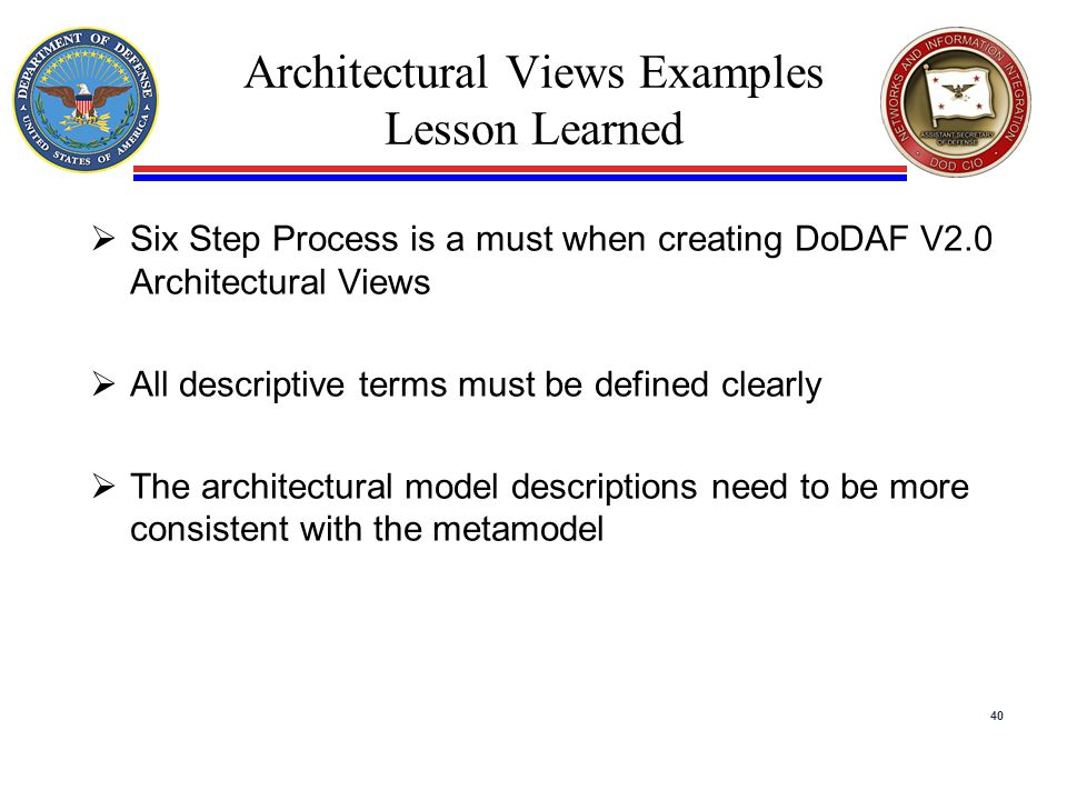 Architectural Views Examples Lesson Learned  Six Step Process is a must when creating DoDAF V2.0 Architectural Views  All descriptive terms must be