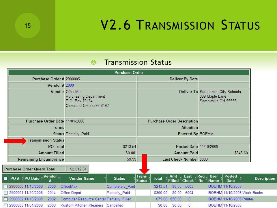 V2.6 T RANSMISSION S TATUS 15  Transmission Status