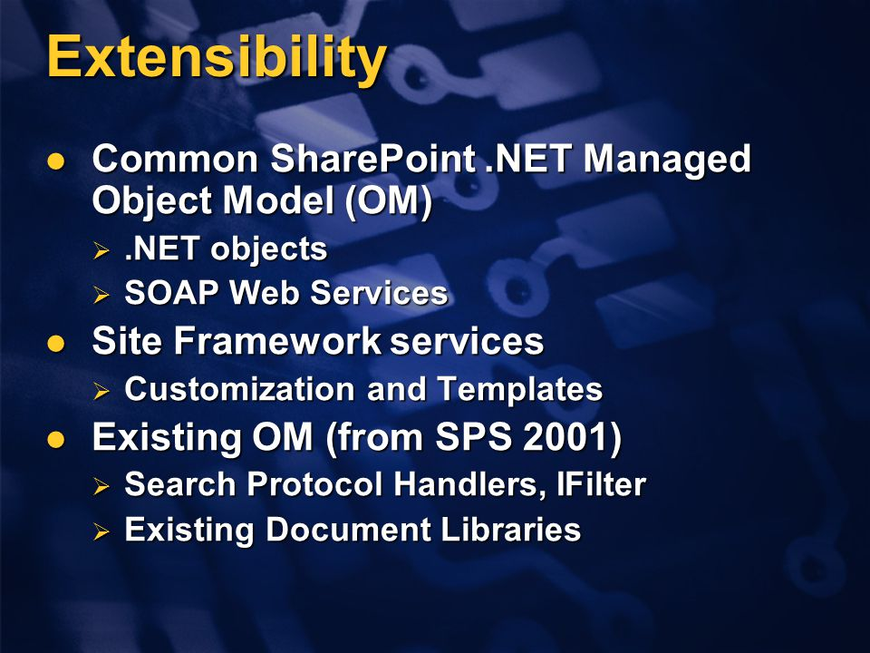 Extensibility Common SharePoint.NET Managed Object Model (OM) Common SharePoint.NET Managed Object Model (OM) .NET objects  SOAP Web Services Site Framework services Site Framework services  Customization and Templates Existing OM (from SPS 2001) Existing OM (from SPS 2001)  Search Protocol Handlers, IFilter  Existing Document Libraries