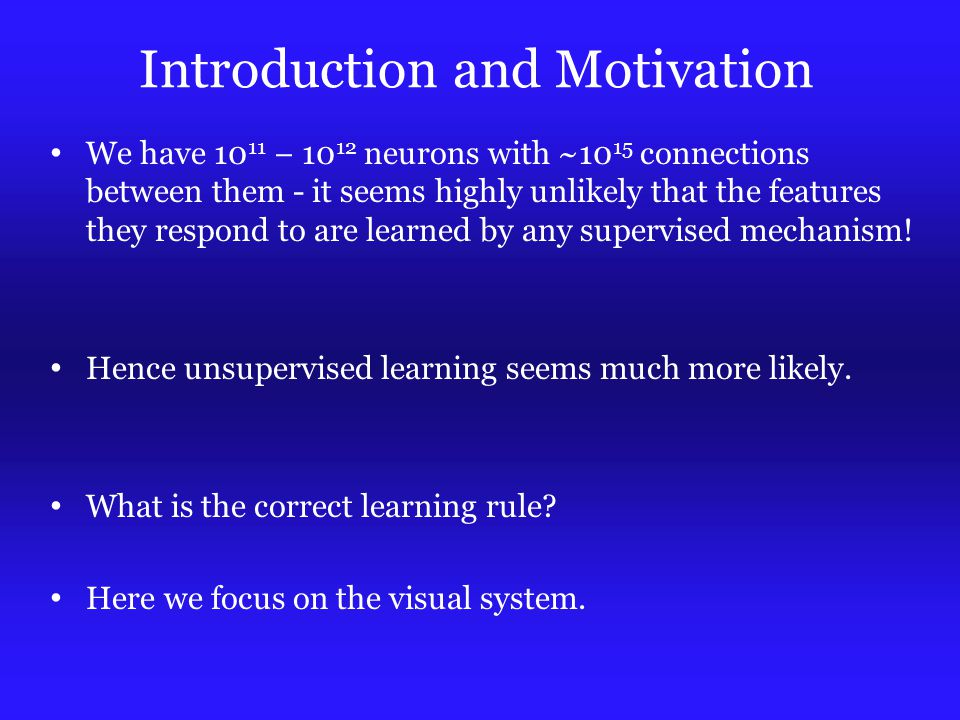 Introduction and Motivation We have 10 11 − 10 12 neurons with ~10 15 connections between them - it seems highly unlikely that the features they respond to are learned by any supervised mechanism.