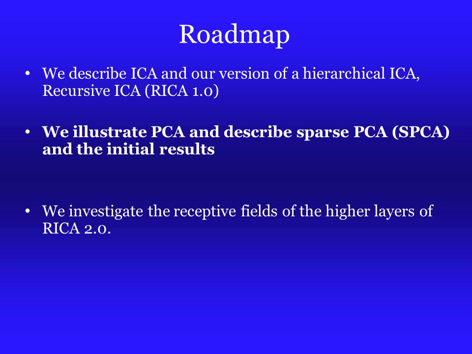 Roadmap We describe ICA and our version of a hierarchical ICA, Recursive ICA (RICA 1.0) We illustrate PCA and describe sparse PCA (SPCA) and the initial results We investigate the receptive fields of the higher layers of RICA 2.0.