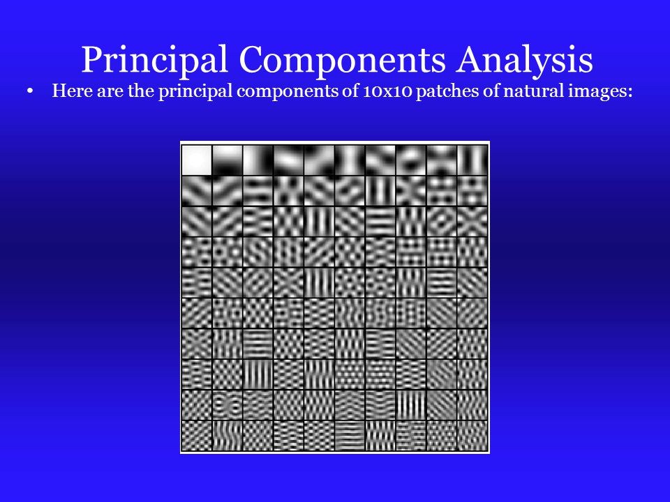 Principal Components Analysis Here are the principal components of 10x10 patches of natural images: