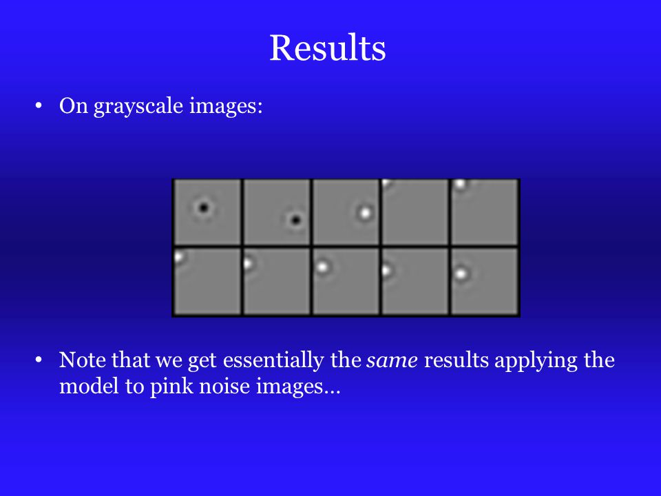 Results On grayscale images: Note that we get essentially the same results applying the model to pink noise images…