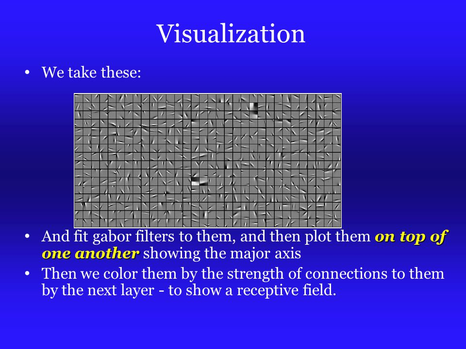 Visualization We take these: on top of one another And fit gabor filters to them, and then plot them on top of one another showing the major axis Then we color them by the strength of connections to them by the next layer - to show a receptive field.