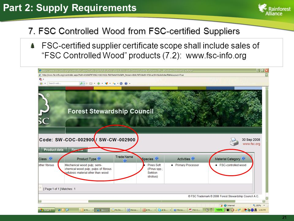 21 FSC-certified supplier certificate scope shall include sales of FSC Controlled Wood products (7.2):   Part 2: Supply Requirements 7.
