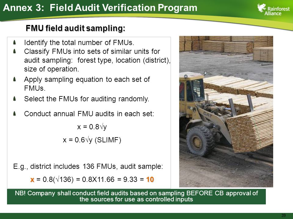 39 FMU field audit sampling: Identify the total number of FMUs.