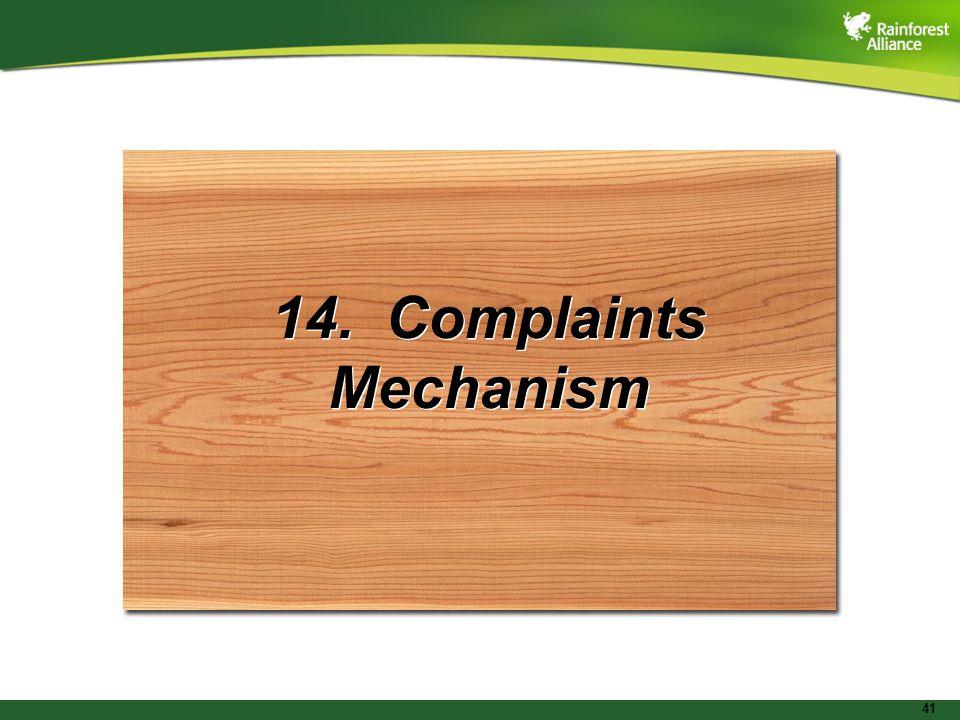 41 14. Complaints Mechanism