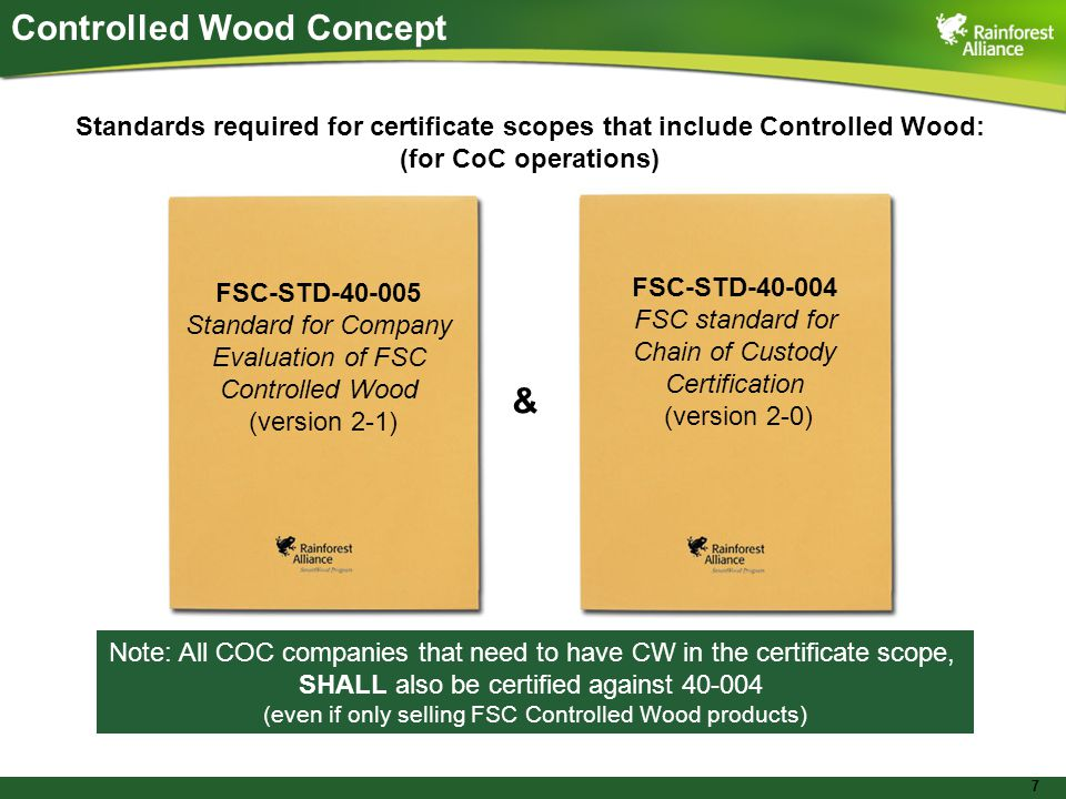 7 Controlled Wood Concept Standards required for certificate scopes that include Controlled Wood: (for CoC operations) FSC-STD Standard for Company Evaluation of FSC Controlled Wood (version 2-1) FSC-STD FSC standard for Chain of Custody Certification (version 2-0) & Note: All COC companies that need to have CW in the certificate scope, SHALL also be certified against (even if only selling FSC Controlled Wood products)