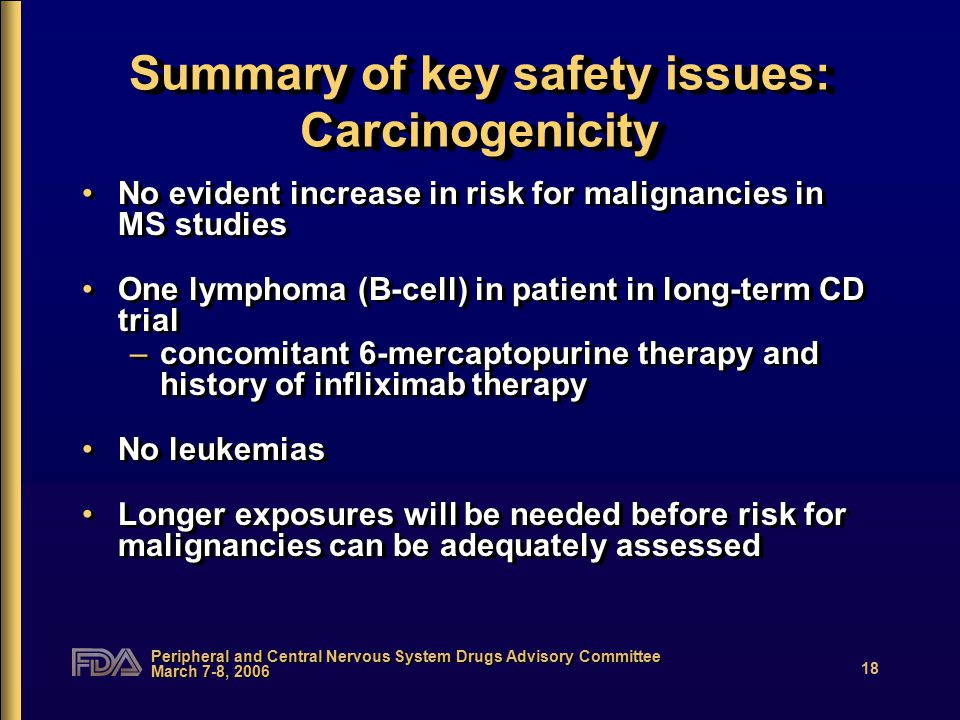 Peripheral and Central Nervous System Drugs Advisory Committee March 7-8, 2006 18 Summary of key safety issues: Carcinogenicity No evident increase in
