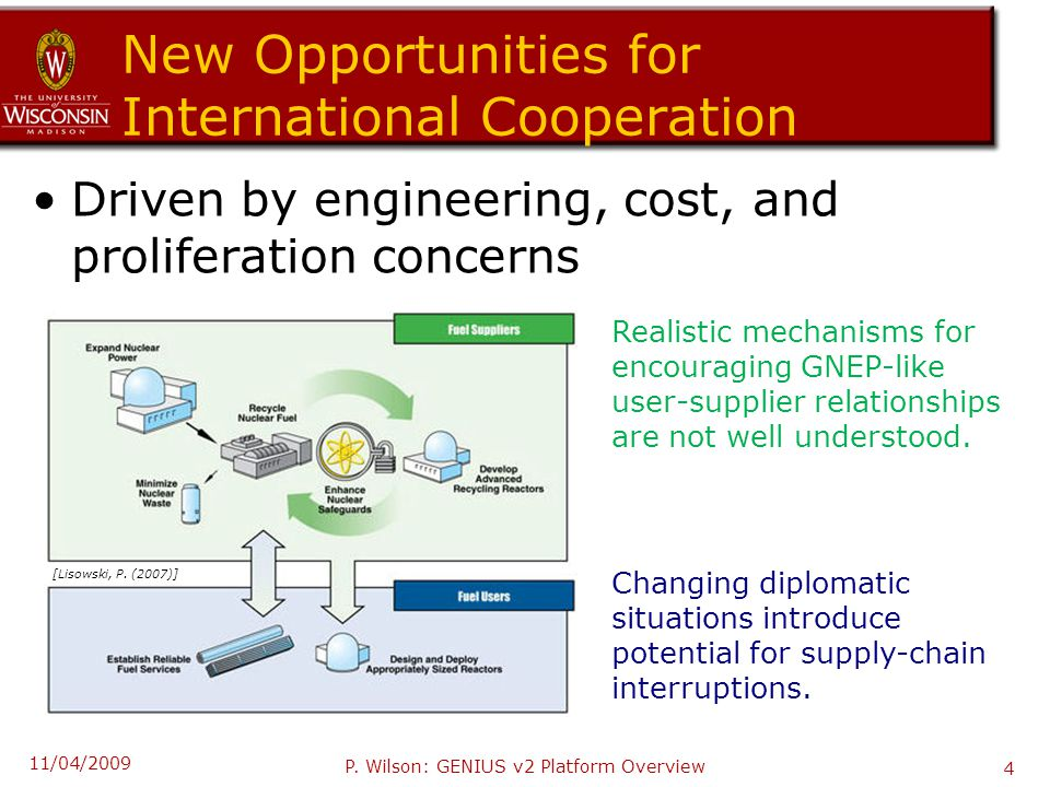 New Opportunities for International Cooperation Driven by engineering, cost, and proliferation concerns Realistic mechanisms for encouraging GNEP-like user-supplier relationships are not well understood.