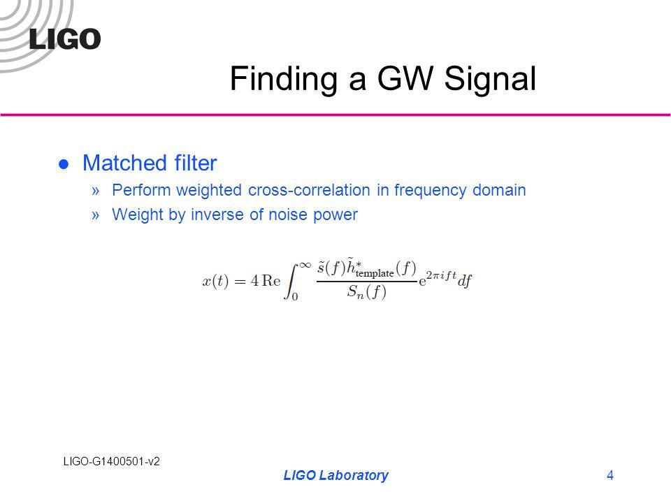 LIGO-G1400501-v2 Matched Filter Search Generate template (and FFT) Grab PSD of noisy data LIGO Laboratory5