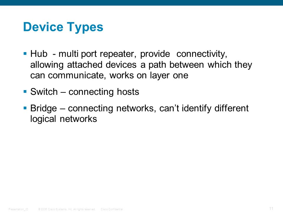 © 2006 Cisco Systems, Inc. All rights reserved.Cisco ConfidentialPresentation_ID 11 Device Types  Hub - multi port repeater, provide connectivity, al