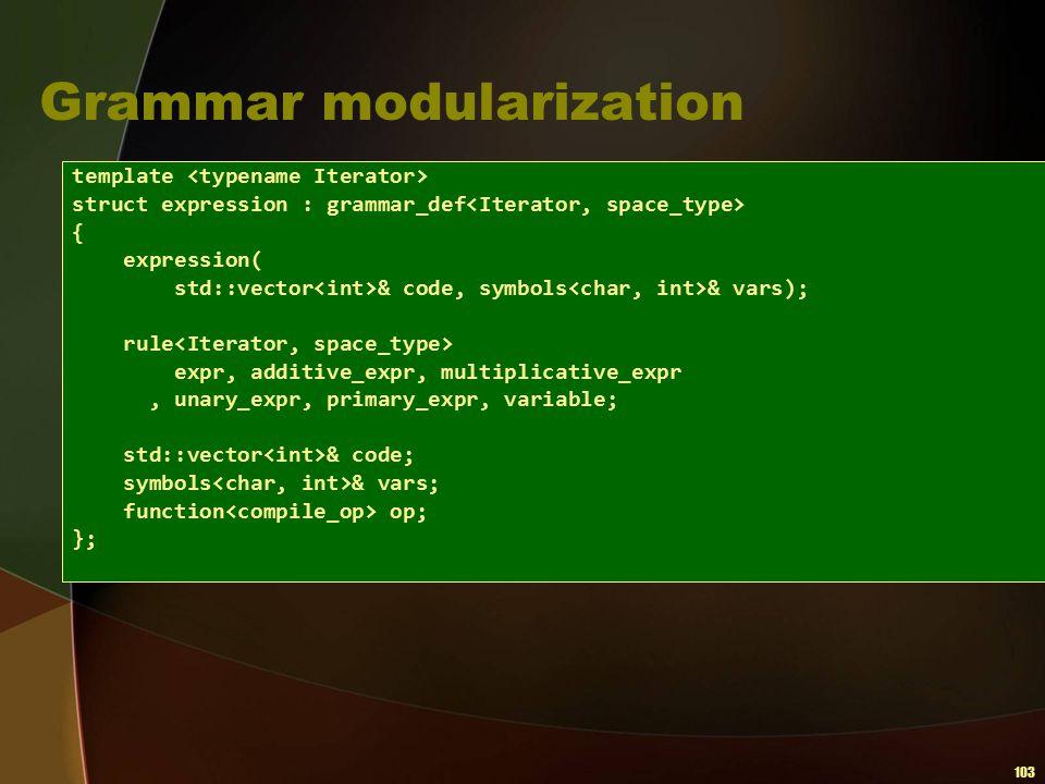 103 Grammar modularization template struct expression : grammar_def { expression( std::vector & code, symbols & vars); rule expr, additive_expr, multi