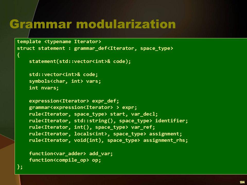 104 Grammar modularization template struct statement : grammar_def { statement(std::vector & code); std::vector & code; symbols vars; int nvars; expre